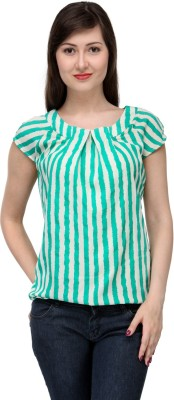 India Inc Casual Short Sleeve Striped Women's White, Green Top