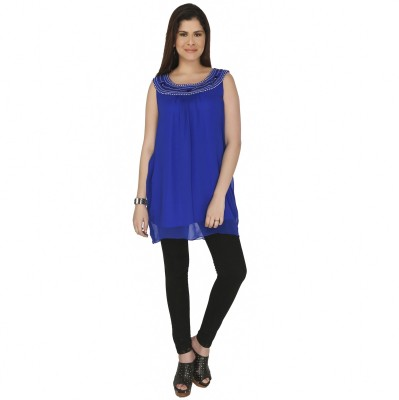 Free Spirited Casual Sleeveless Solid Women's Blue Top