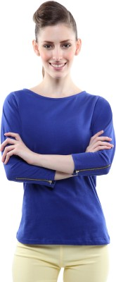 Miss Chase Casual 3/4th Sleeve Solid Women's Blue Top at flipkart