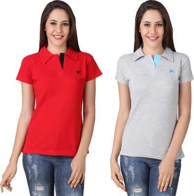 Yati Casual Short Sleeve Solid Women's Red, Grey Top