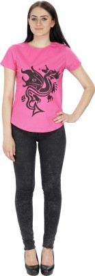 Needle9 Party, Casual, Festive Short Sleeve Printed Women's Pink Top