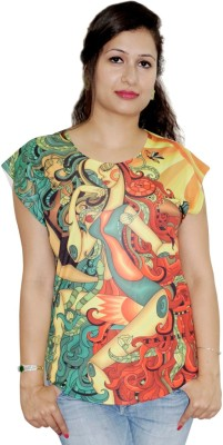 Pindia Printed Women,s Round Neck Multicolor T-Shirt