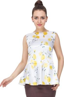 Vodka Fashion India Party Sleeveless Printed Women's White Top
