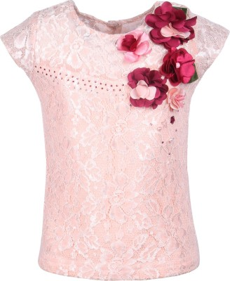 Cutecumber Party Cap sleeve Embellished Girl's Pink Top