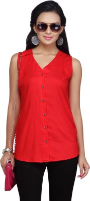 I Jeanswear by Shoppers Stop Casual Sleeveless Solid Women,s Red Top