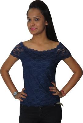 Modo Vivendi Casual Short Sleeve Solid Women's Blue Top