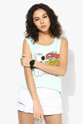 Family Guy Casual Sleeveless Graphic Print Women's Green Top