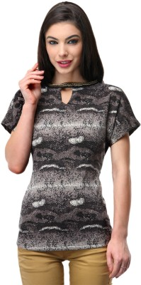 Milimoto Casual Short Sleeve Animal Print Women's Black, White Top