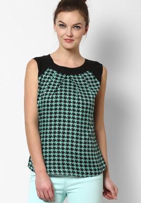 Prakum Casual Sleeveless Printed Women,s Green, Black Top