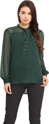 Pera Doce Casual Full Sleeve Solid Women,s Green Top