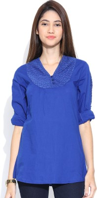 U&F Casual 3/4 Sleeve Solid Women's Blue Top