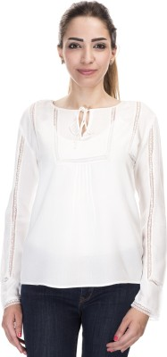 Falak Casual Full Sleeve Solid Women's White Top
