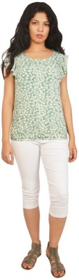 Isadora Casual Cape Sleeve Printed Women's Green, White Top
