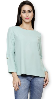 Pear Blossom Casual 3/4 Sleeve Floral Print Women's Light Green, Green Top