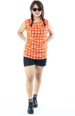 Aggana Casual Sleeveless Checkered Women's Orange Top