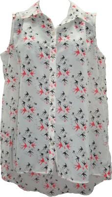 Deesha Casual Sleeveless Printed Women's White, Pink Top