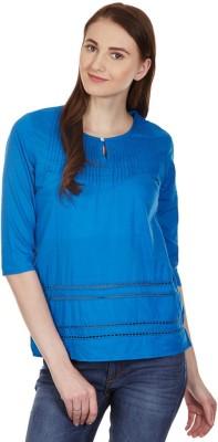 American Swan Casual Short Sleeve Self Design Women's Blue, Green Top