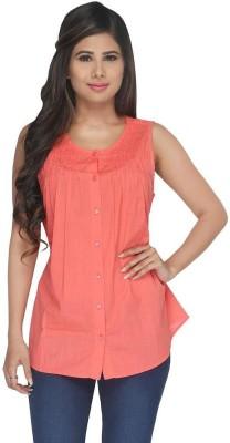Fashionwardrobe Casual Sleeveless Solid Women,s Orange Top