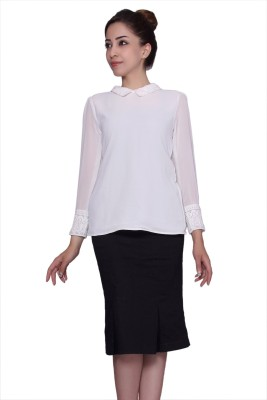 Tinge of Colors Formal, Party Full Sleeve Solid Women's White Top