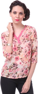 Sassafras Casual 3/4th Sleeve Printed Women's White, Pink Top at flipkart