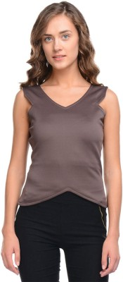 I Know Casual Sleeveless Solid Women,s Brown Top