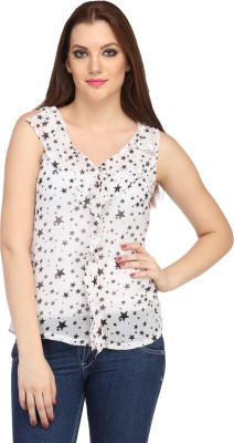 My Addiction Casual Sleeveless Printed Women's White Top
