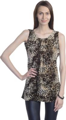 Bebo Casual Sleeveless Animal Print Women's Black Top