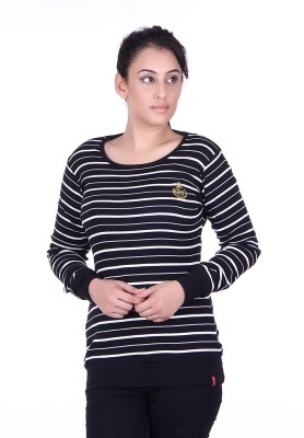 Oner Party, Casual, Sports, Festive Full Sleeve Solid, Striped Women's Black, White Top