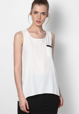SF Jeans by Pantaloons Casual Sleeveless Solid Women's White Top at flipkart