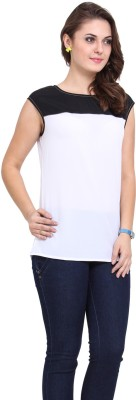 DeDe,S Casual Sleeveless Solid Women,s White, Black Top