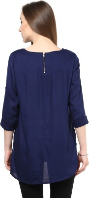 Hapuka Casual Roll-up Sleeve Solid Women's Blue Top