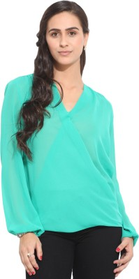 Honey & B Casual Full Sleeve Solid Women,s Blue Top