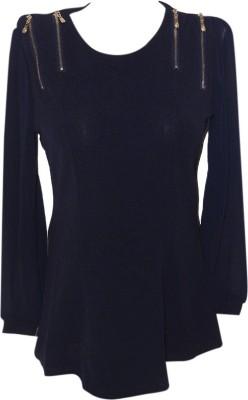 Forever 18 Casual Full Sleeve Self Design Women's Dark Blue Top
