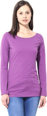 T-shirt Company Casual Full Sleeve Solid Women's Purple Top