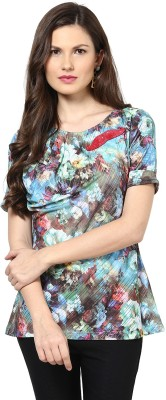 Glam & Luxe Casual Short Sleeve Printed Women's Multicolor Top