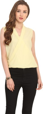 Label VR Casual Sleeveless Solid Women's Yellow Top
