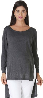 Morph Maternity Casual Full Sleeve Solid Women's Grey Top