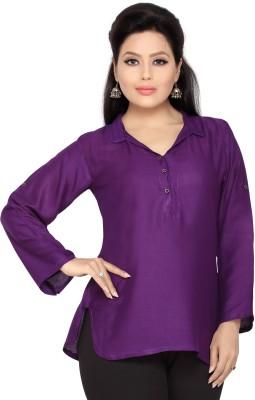 Belinda Casual, Party, Lounge Wear Roll-up Sleeve Solid Women's Purple Top
