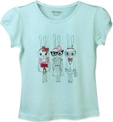 Minnow Casual Short Sleeve Printed Girl's Light Blue Top