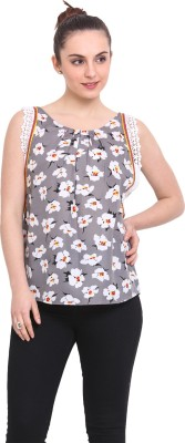 RSVP Cross Casual Sleeveless Floral Print Women's Grey Top