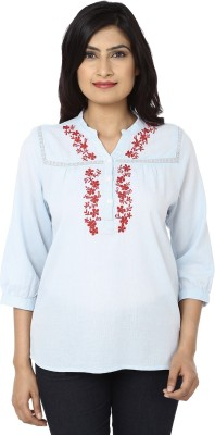 India Inc Casual 3/4 Sleeve Embroidered Women's Light Blue Top