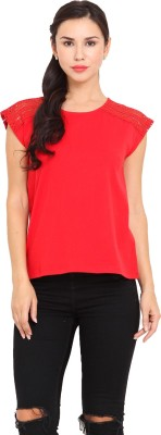 La Stella Casual Sleeveless Solid Women's Red Top