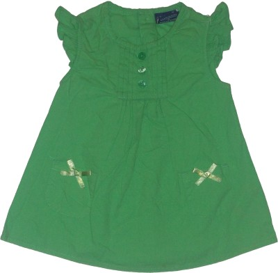 Red Rose Party, Casual Short Sleeve Solid Baby Girl,s Green Top
