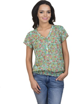 Antilia Femme Casual Short Sleeve Printed Women's Green Top