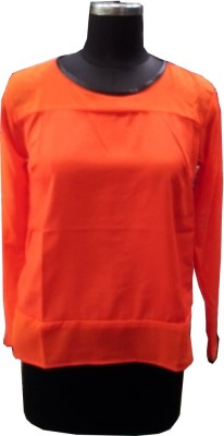 V.K TRADERS Casual Full Sleeve Self Design Women's Orange Top