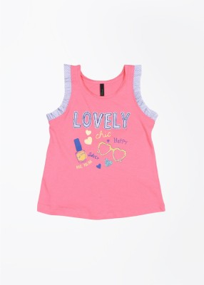 United Colors of Benetton Casual Sleeveless Printed Girl's Pink Top