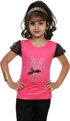 STRAWBERRY GIRL Casual Short Sleeve Self Design Baby Girl,s Pink Top