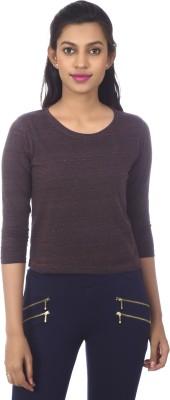 karney Casual 3/4 Sleeve Solid Women's Maroon Top