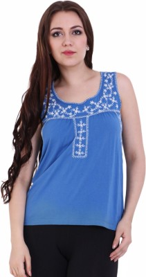 Rat Trap Casual Sleeveless Embroidered Women's Blue Top