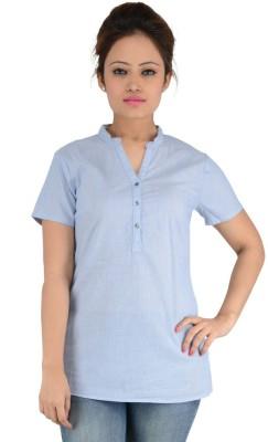 Eimoie Casual Short Sleeve Striped Women's Blue Top